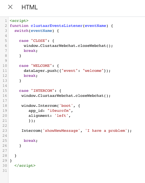 Open Intercom code Clustaar platform