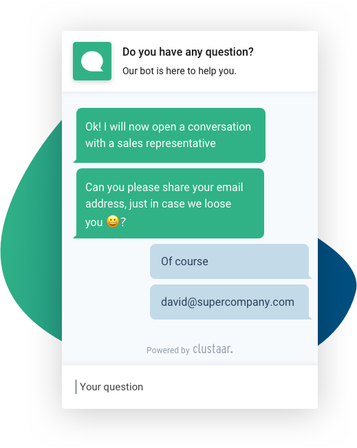 Chatbots conversation email generate leads Clustaar