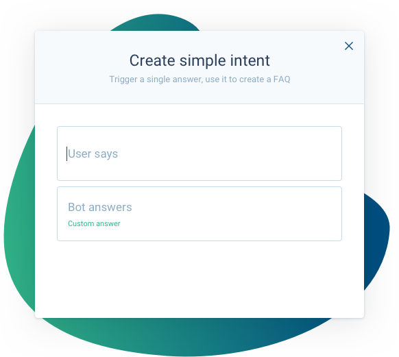 Create simple intent Clustaar Bot