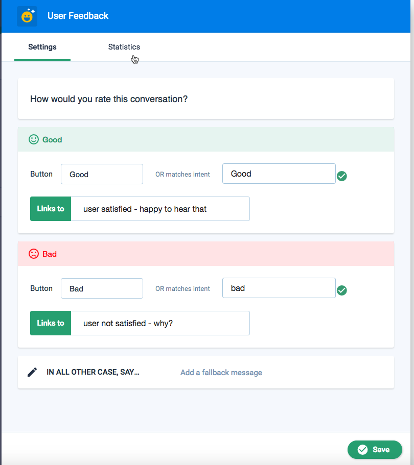 User feedback feature Clustaar chatbot building platform