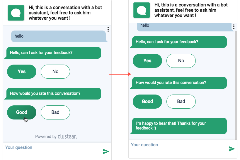 Chatbot Clustaar User Feedback