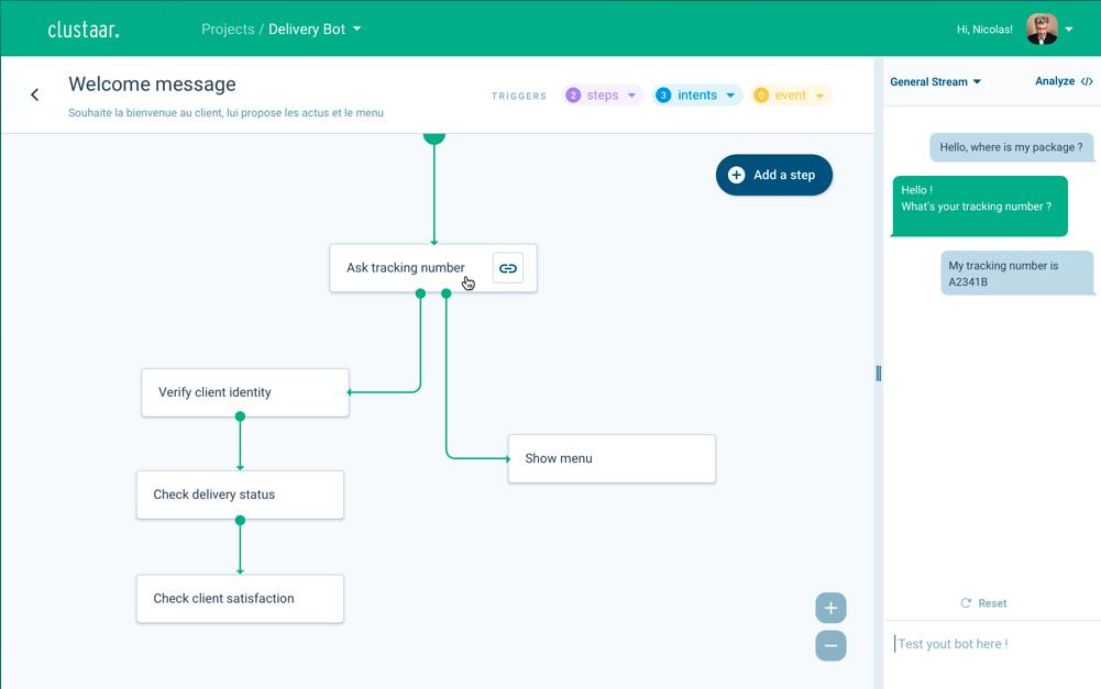 Track package story builder Clustaar chatbot platform