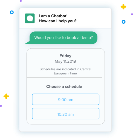 Chatbot schedule meeting Clustaar