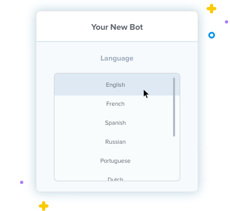 Languages chatbot Clustaar many
